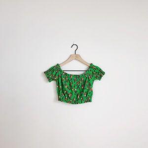 Topshop | green off the shoulder floral crop top